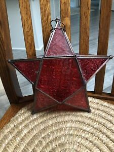 Hanging Glass Metal Star Candle Holder Moroccan Style Lantern Tea Light