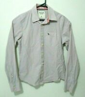 Abercrombie & Fitch Mens Shirt Size M  White Check Long Sleeve Button Up Muscle