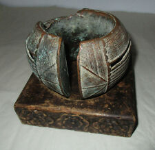 Old Primitive Unique Artwork Metal Sculpture Casting Metal Wood Base