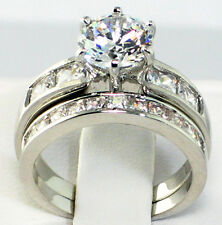 CLASSIC 3.86 Ct. CZ Platinum EP Wedding Bridal Engagement Ring Set- SIZE 7