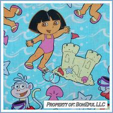 BonEful Fabric FQ Cotton Dora Boots Beach Monkey Sand Castle Girl Princess Water