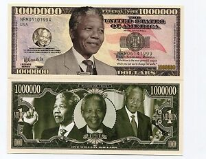 Nelson Mandela Novelty Bill 1 Million Dollars Note - Great Collectors Item