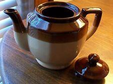 Vintage Brownware Pottery Teapot Tri-Color
