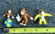 VINTAGE CURIOUS GEORGE Christmas Tree Ornaments, Decorations SET (3) DIFFERENT