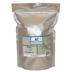 5 Pounds - Calcium Sulfate Dihydrate - Gypsum - Fine Powder
