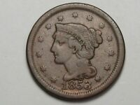 1853 US Braided Hair Large Cent Coin.  #34