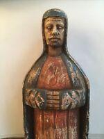 "Vintage Carved Wood Santo Statue Santos 14.75"" Polychrome King"