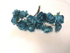 Teal Paper Roses x 144 Bulk Pack 15mm Rose head size