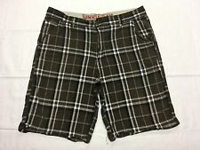 UNION BAY BROWN PLAID CASUAL GOLF SHORTS HAND MEASURED SIZE 36W EUC BEST SH645m
