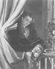 Pretty SPANISH GIRL AT WINDOW SIGNALS LOVER BELOW ~ Old 1867 Art Print Engraving