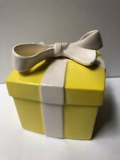 Vtg Fitz and Floyd Ff Yellow Gift Present Box White Bow Trinket Ring Porcelain