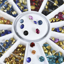 3 Sizes 3D Nail Art Tips Glitter Crystal Rhinestone Gem DIY Decoration Wheel FT