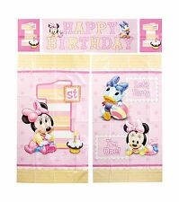 Amscan Disney Baby Minnie Mouse 1st Birthday Scene Setters Wall... Free Shipping