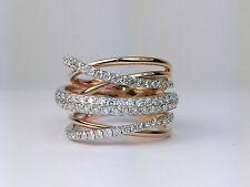 18K 2-Tone Rose Gold Natural Round Diamond Criss Crossover Ring 1.11 Carat