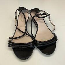 Elie Tahari 38   8 Style Heather Demi Wedge Black Leather Sandals Strappy Cork
