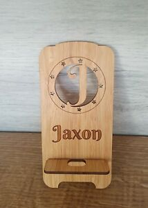 PERSONALISED bamboo phone holder/Stand with charging access