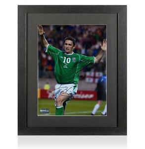 Robbie Keane Signed Republic of Ireland Photo In Black Wooden Frame: 2002 FIFA W