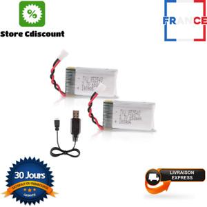 Batterie Drone Vehicule Crazepony-UK 2PCS 1S Lipo 3.7V 650mAh RC Syma X5 Serial