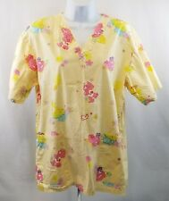Care Bears Scrub Top Size Small Yellow Medical Dental CNA Nurse ☆ FREE Shipping!