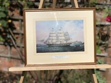 """THE BARQUE """"OCEAN PRIDE"""" FRAMED VINTAGE PRINT OF A PAINTING BY JOHN SCOTT 1865"""