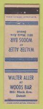 Matchbook Cover - Walter Aller Woods Bar Detroit MI