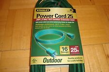 STANLEY Power Cord 25 * 25ft Outdoor Extension Cord 16 Guage GREEN AWG 16/3  NEW