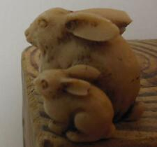 """Resin and Bone Bunny and Baby Rabbit Figurine Made in Mexico 1.5"""""""