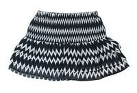 H&M Womens Size 6 Black White Geometric Smocked Waist Sheer Tiered Ruffle Skirt