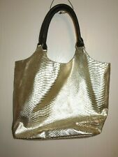 NEIMAN MARCUS Women's Large Gold Leather Crocodile Tote Shoulder Hand Bag