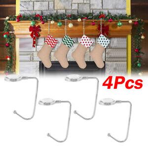 4Pcs Christmas Wreath Hanger Fireplace Stocking Tree Metal Holder Decor Hooks