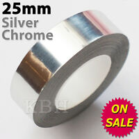"25mm x 9.8m PinStriping Pin Stripe Coachline Tape Decal Sticker 1"" Chrome Silver"
