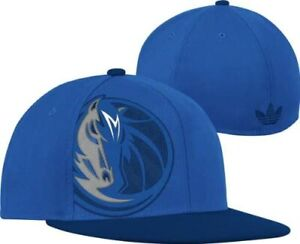 adidas Dallas Mavericks Flat Brim Oversized Logo Flex Hat - Size:7 1/4 -7 5/8