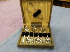 Boxed set of vintage tea spoons and sugar tongs Chrome plated