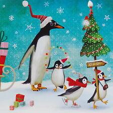 Mila Marquis*Postkarte*14x14*Pinguine am Nordpol*Grußkarte*Glitzer*Weihnachten