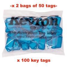 KEVRON KID-5 2 Bags Of 50 BLUE Plastic Click Key Ring Tags 100 TAGS-FREE POST