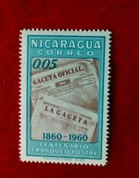 1960 NICARAGUA 100th ANNIV POSTAGE STAMP MINT HINGED 0.05