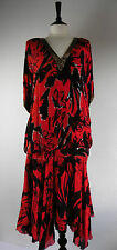 ✿❀ Hilary Floyd 70's Vintage Size M Dress 100% Silk Black Red Beaded 20's Style.