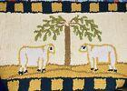 "Handmade Needlepoint Wool Rug 2' x 14"" - 2 Sketchy Sheep 1 Tree Yellow Brown"