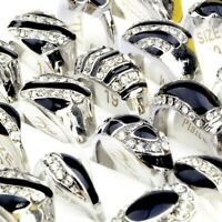 10Pcs Wholesale Mixed Lots Men Crystal Rhinestone Rings Wedding Jewelry Unisex