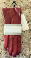 Ladies Charter Club 100% Cashmere Lined Leather Gloves,Red,Size 7.5 (Medium),NWT