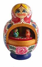 Boite à musique Fait Main -Matriochka bleu-rouge -Cadeau Souvenir Russe