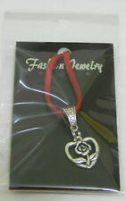 Silver Heart & Rose Pendant Lge On Red Genuine Suede Necklace