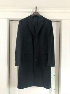Kiton man cashmere/vicuna overcoat size 50 in classic black. Pre-owned