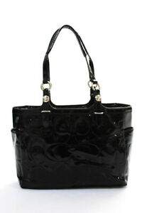 Coach Womens Double Strap Monogram Mini Tote Handbag Black Patent Leather