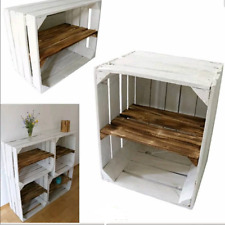 1 x WHITE PAINTED APPLE CRATE WITH SMOKED WOOD SHELF BEDSIDE CABINET SHOE RACK