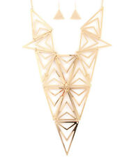 Gold Tone Triangular Design Necklace and Earring Set #N03