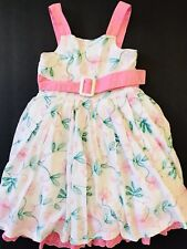 Pumpkin Patch Kids Girls Sleeveless Dress Size 6 White Floral Embroidered Lined