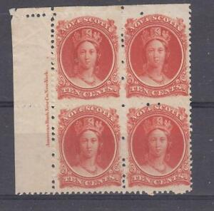 NOVA SCOTIA (1)# 12 VF-MNH INSCRIPTION BLOCK OF 4 (Gum Disturbance) CAT VAL $160