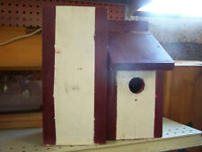 wooden bird house (white and burgandy)