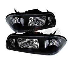 87-93 Ford Mustang Euro 1Pc Black Crystal Headlights W/Clear Corner Lamps Pair